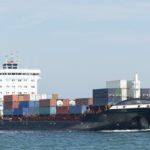 Containerschiff auf  der Ostsee bei Kiel,Deutschland