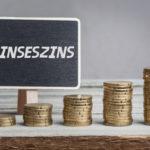 Deutsches Wort Zinseszins auf Schild, Geld Wachstum, Studiofoto auf Holztisch