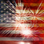United States of America USA Flag with Fireworks Grunge Texture Background for 4th of July Independence Day