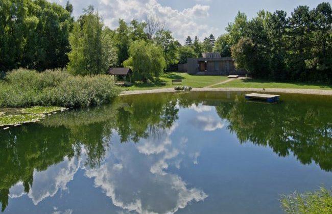 Der nahe gelegene Teich, mit Badezone