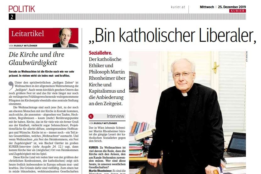 Das Gespräch mit Rudolf Mitlöhner vom KURIER erschien in der Weihnachtsausgabe der Zeitung auf S. 2 und 3.
